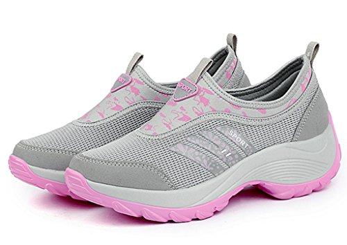 Fitness DADAWEN Sneaker Womens Gray Work c On Out Slip Platform IFOHqaF