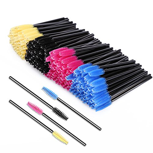 KEDSUM 200pcs Disposable Mascara Brushes,Bendable Mascara Wands with Soft Hair,Eye Lash Brushes/Eyebrow Applicator with 4 Colors,Cosmetic Makeup Brush (Lift Brush)