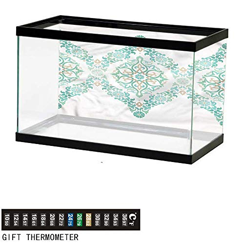 bybyhome Fish Tank Backdrop Ethnic,Ottoman Royal Revival Mosaic,Aquarium Background,48
