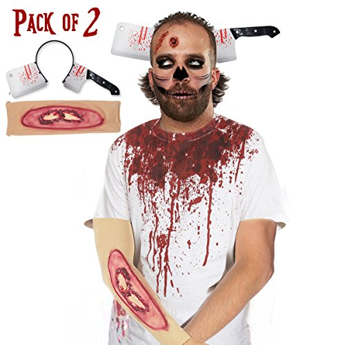 [Pawliss Halloween Scary Cleaver Knife-Thru-Head Headband & 3D Scars Sleeves Set Zombie Costume Accessories for Men Women] (Horror Makeup Value Kit)