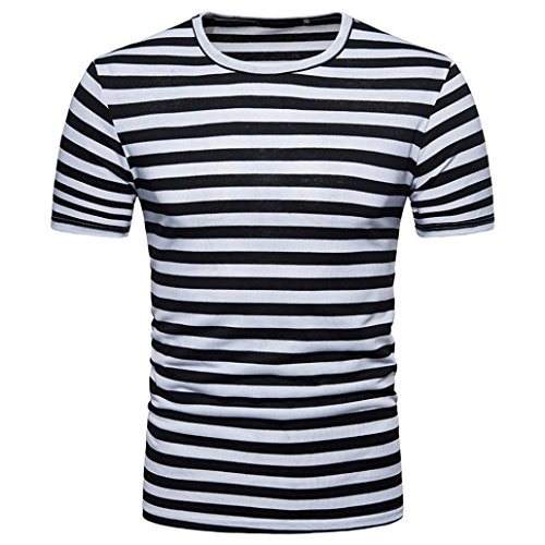 GREFER Men's Summer Casual Stripe Round Neck Pullover T-Shirt Short Sleeve Top Blouse (L, Black) -