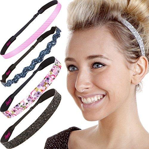 Hipsy Cute Fashion Adjustable No Slip Hairband Headbands for Women Girls & Teens (5pk Spring Floral Headbands)