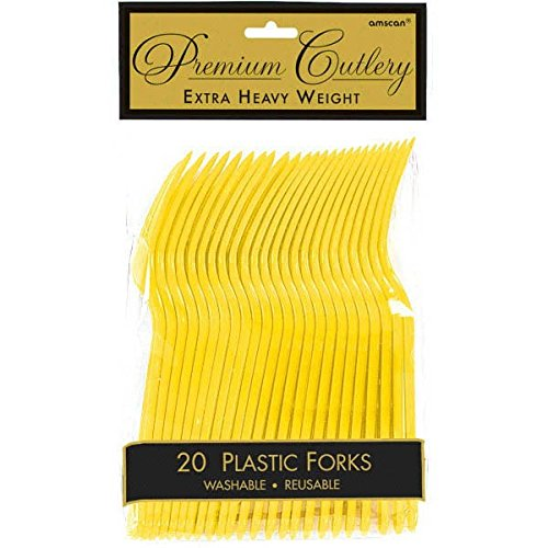 (Premium Heavy Weight Plastic Forks | Sunshine Yellow | Pack of 20 | Party Supply)