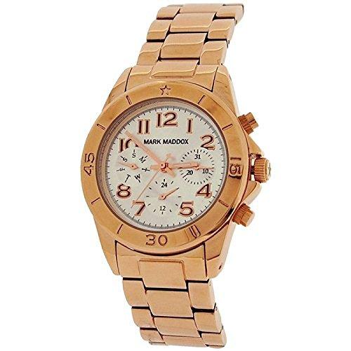 Mark Maddox Ladies Multifunction Dial Goldtone Bracelet Strap Watch MM3006-05