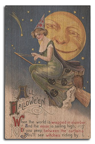 Halloween Greeting - Witch in Flight - Vintage Holiday Art (10x15 Wood Wall Sign, Wall Decor Ready to Hang)