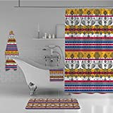 iPrint Bathroom 4 Piece Set Shower Curtain Floor mat Bath Towel 3D Print,Details with Animal Birds in Aztec Print,Blue,Fashion Personality Customization adds Color to Your Bathroom.