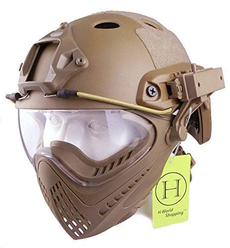 H World UE - Casco integral táctico para airsoft o painball, con gafas de visión completa y frontal extraíble, color DE, tamaño M-L: Amazon.es: Deportes y ...