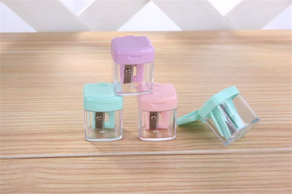 DIVISTAR 3 piezas Sacapuntas de pl/ástico con tanque de maquillaje port/átil Mini para Crayon Mouse papel de color al azar
