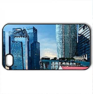 Singapur - Case Cover for iPhone 4 and 4s (Skyscrapers Series, Watercolor style, Black)