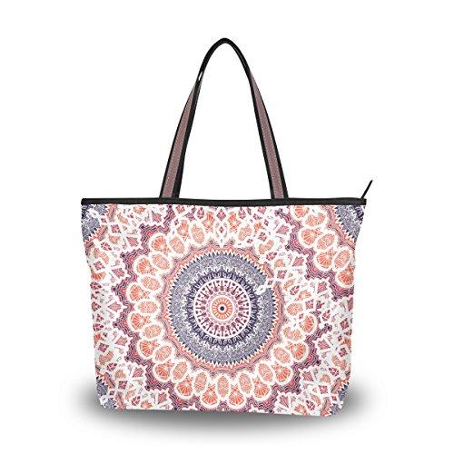 U LIFE Vintage Turkish Indian Paisley Mandala Floral Carry On Tote Bag - Sungalasses