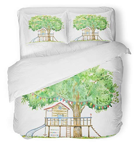 Emvency 3 Piece Duvet Cover Set Breathable Brushed Microfiber Fabric Baby Tree House Swing Slide and Playhouse Summer White Watercolor Forest Kids Wood Bedding Set with 2 Pillow Covers Twin Size