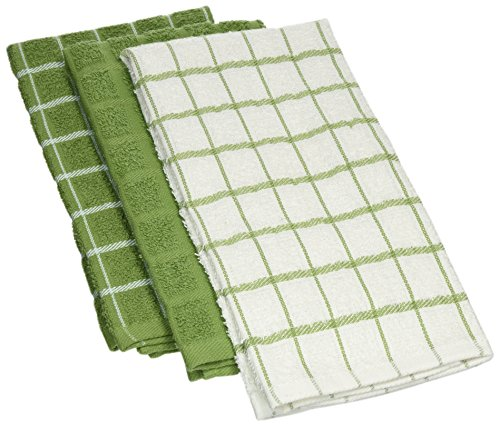 "Ritz 100% Cotton Terry Kitchen Dish Towels, Highly Absorbent, 25"" x 15"", 3-Pack, Cactus Green by Ritz"