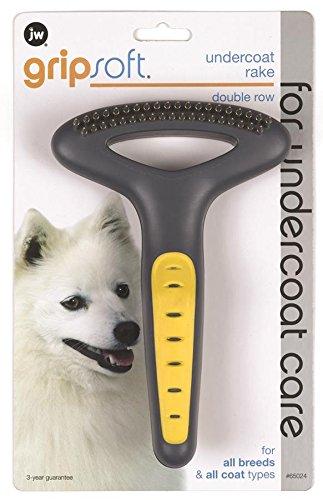 JW Pet Company GripSoft Double Row Undercoat Rake Dog Brush Undercoat Rake