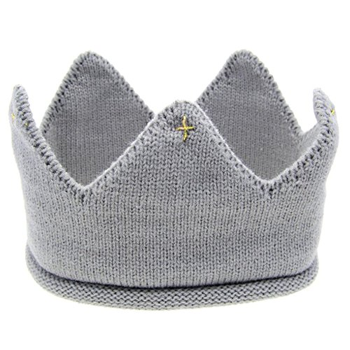 Braceus Newborn Toddler Baby Unisex Sweet Soft Knit Crown Hat Cap Headwear (Gray)