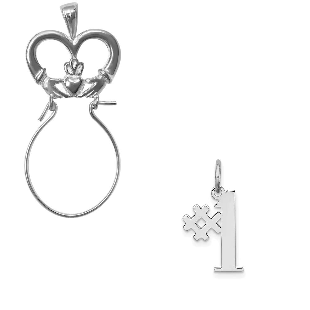 Mireval Sterling Silver Anti-Tarnish Treated #1 Polished Charm on an Optional Charm Holder