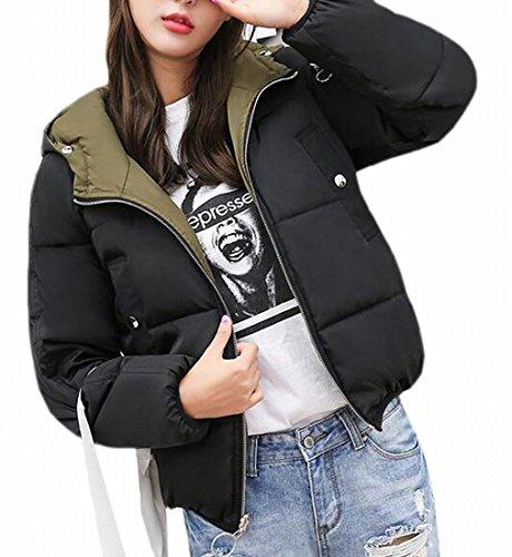 Hot Reversible Stylish Hooded Jacket Women UK Coat Black Sale Lightweight Short Down OraqSO