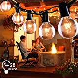 Outdoor String Lights FOCHEA 31ft G40 Outdoor Garden Globe String Lights Festoon Lighting for Indoor & Outdoor Décor Wedding Backyard Patio Cafe Party Decoration Warm White with 25Pcs E12 Bulb
