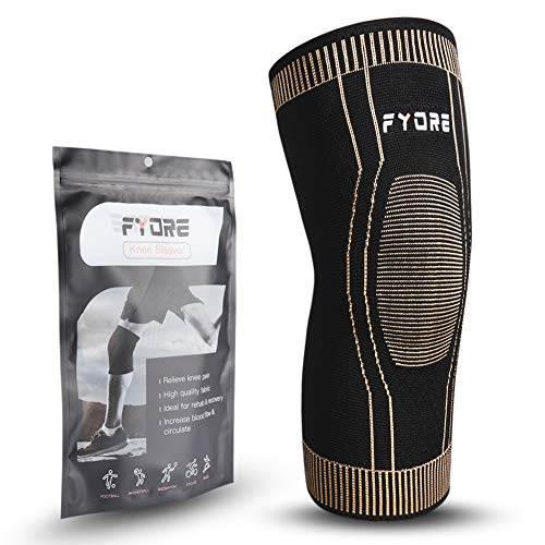 Fyore Copper Knee Brace Compression Sleeve,Knee Braces for Men and Women,Knee Sleeves Support for Meniscus Tear,Arthritis,ACL,Running,Pain Relief,Injury Recovery,Basketball and More Sports (Large)