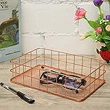 Caveen Modern Copper Rose Gold Wire Mesh Basket Storage Large Capacity Metal Receive Basket Office Bedroom Bathroom Kitchen Study