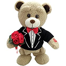 """Chantilly Lane """"Tuxedo Teddy"""" Sings """"How Sweet It Is To Be Loved by You"""" Plush, 12"""""""