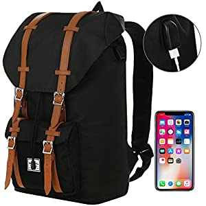 "Benteng Laptop Backpack, Travel Backpack With USB Charging Port -Every Day & Travel Gear For School | Camping | Hiking | College Backpack - Large Bag For 15"" Laptops- Multiple Secure Pockets (Black)"