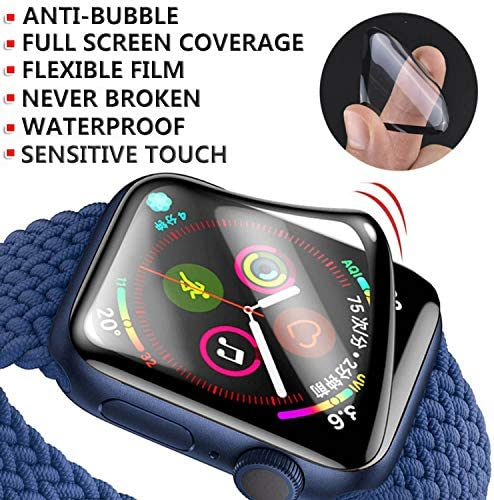 ZPIAR [3 Pack] Screen Protector for Apple Watch SE/Series 6/5/4 40mm Full Screen Coverage Anti-Scratch Bubble Free Waterproof Ultra HD Full Cover Edges Flexible Film for iWatch SE/Series 6/5/4 (40mm)