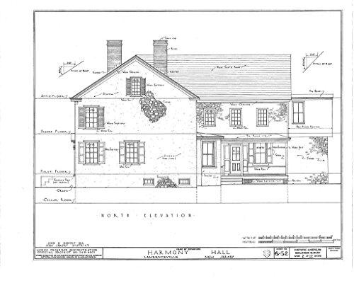 Historic Pictoric Blueprint Diagram HABS NJ,11-LAWR,1- (Sheet 2 of 12) - Harmony Hall, Main Street, Lawrenceville, Mercer County, NJ 44in x 32in ()