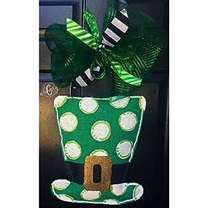Polka Dot Leprechaun Hat Burlap Door Hanger- Leprechaun Burlap Door Hanger-St. Patricks Day Door Hanger- St. Patricks Day Wreath-Leprechaun Wreath-Door Decor 77