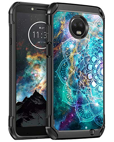 BENTOBEN Moto Z3 Play Case, Moto Z3 Case, Shockproof Slim Dual Layer Hard PC Soft Bumper Glow in The Dark Noctilucent Cute Protective Phone Cases Cover for Motorola Moto Z3/Z3 Play, Mandala in Galaxy (E Cases Covers Moto And)
