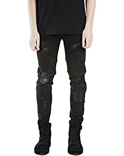 ee2cb2043a Classic Pink Men Casual Stonewash Destroyed Jeans Skinny Denim Pants  Distressed Ripped Trousers