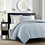 quilt cotton queen blue - Madison Park Quebec Dusty Pale Blue 3-Piece Quilted King Coverlet Set—For King or Cal King Bed –Ideal For Warm Climate Room Décor or Add-on For Extra Warmth