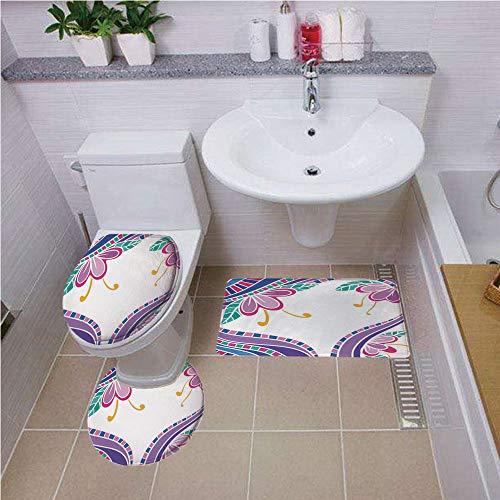 Bath mat set Round-Shaped Toilet Mat Area Rug Toilet Lid Covers 3PCS,Flower,Vibrant Lines with Lily Petals Nature Beauty Bouquet Flourishing Design Decorative,Purple Pink Violet Blue ,Bath mat set Rou