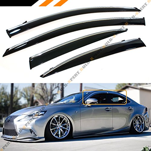 - JDM VIP Smoke Tinted Chrome Trim Window Visor Rain Guard W/Clips Fits for 2014-2018 Lexus IS250 IS350 IS200t IS300