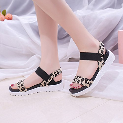 Sandales Confortables Streetwear Femme Plates Mode Epaisse Été Juleya Chaussures Rond avec Décontractée Léopard Sole Bout Chaussures d'extérieur PExqSnHZw