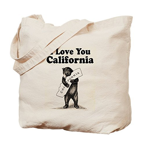 Vintage I Love You California State Bear Cute Eco-Friendly Reusable Canvas Tote Bag for School 15 x 18 Inch