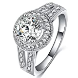 FENDINA Womens Jewelry Vintage Wedding Engagement Bands Solitaire Rings for Anniversary Band Her - 18K White Gold Plated - Luxurious Series-FR974, Size 7