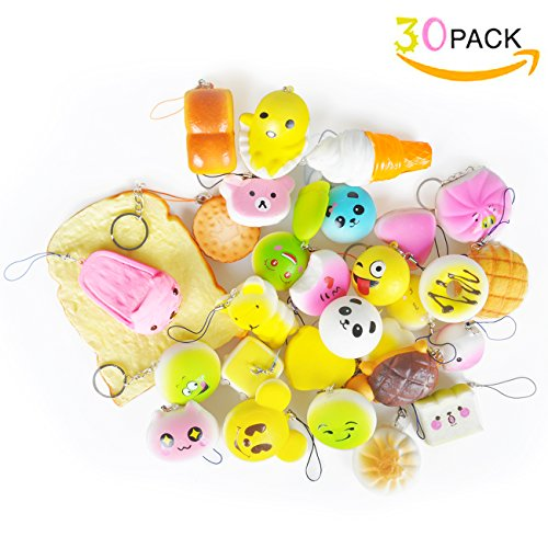 30 Count/Pack Squishy Cream Scented Lovely Mini Simulation Soft Food squishies Toys,Phone Straps Charm Kids ToyRandom