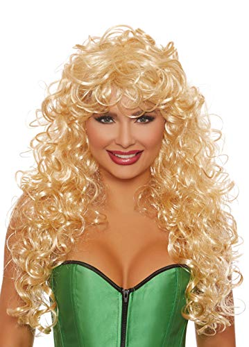 Dreamgirl Women's Long Curly Blonde Wig, One Size -