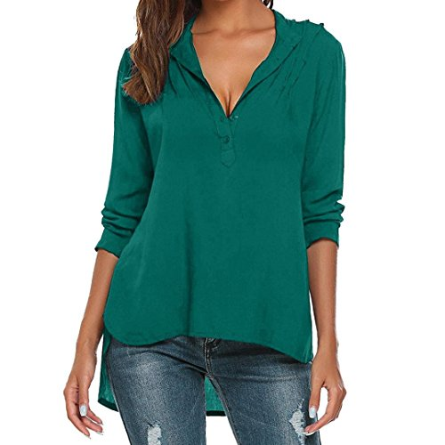 Womens Fashion V-Neck Long Sleeve Blouse Pure Color Casual Loose Shirts Tops(Green,M)