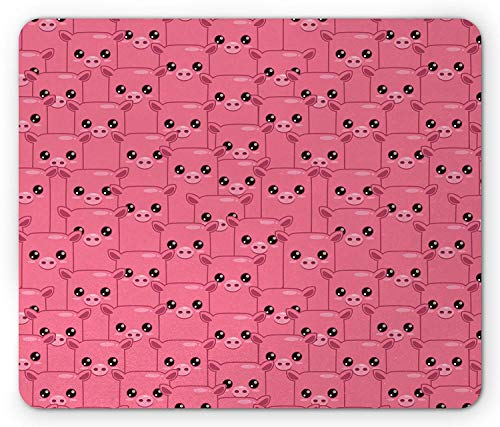 Pig Mouse Pad, Smily Square Faced Little Pigs Eyes and Noses Crowd Herd of Animals Pattern Print, Standard Size Rectangle Non-Slip Rubber Mousepad, Pink and Black]()