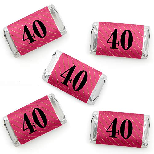 (Chic 40th Birthday - Pink, Black and Gold - Mini Candy Bar Wrapper Stickers - Birthday Party Small Favors - 40 Count)