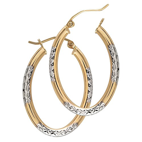 Balluccitoosi Oval Two Tone Earrings - 14k Gold Hoop Earring for Women and Girls - Unique Jewelry for Everyday by Ballucci&Toosi Goldsmith