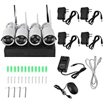 Security Indoor Outdoor Wide Viewing Angle Night Vision Cameras System Home DVR 1G,4-Channel 960P HD Video Security System CCTV DVR Hard Drive Surveillance Night Vision Security Camera System