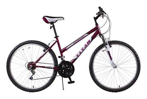 Titan Pathfinder Women's 18-Speed Mountain Bike with 17-Inch Frame and Front Suspension Fork, Purple