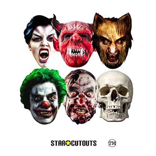 Star Cutouts SMP69 Halloween Party Masks 6 Pack - (Clown, Skull, Vampire, Werewolf, Zombie and Devil) One Size -