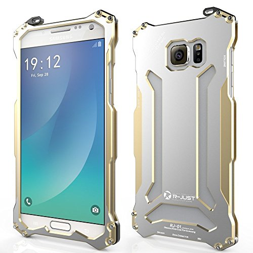 Galaxy Note 5 Case, bpowe Aluminum Metal Shock Proof Frame Bumper Double Color Oxidation Aluminum Metal Protective Case Cover for Samsung Galaxy Note 5 (Gold)