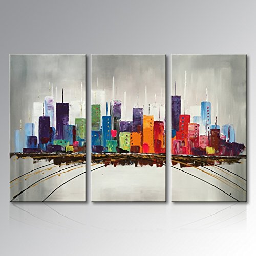 Everfun Modern 3 Piece Hand Painted Abstract Oil Painting Color City Canvas Wall Art Building Landscape Skyline Artwork Framed Stretched Home Office Decor 36 Wx24 H