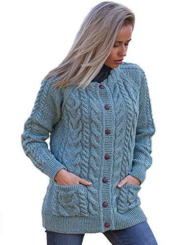 Irish Aran Knitwear | Cable Knit Lumber Cardigan J024 | 100% Merino Wool (Aqua, Medium) (Womens Aran Cardigan)