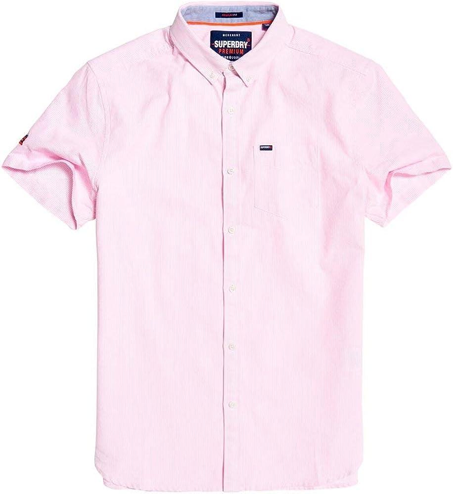 SUPERDRY Mens Premium Oxford Short Sleeve Shirt - Pink - XL ...