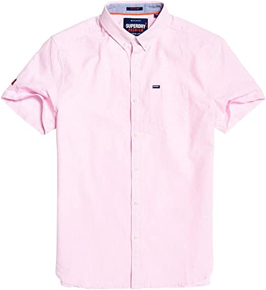 Superdry Herren Premium University Oxford gestreiftes SS Shirt Alban Ticking Pink